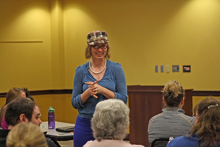 Assistant Professor Hillary Mellema, Ph.D. presents to a group
